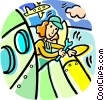 Vector Clipart illustration  of an airline mechanic working on a
