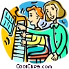 Vector Clipart illustration  of a piano lessons