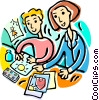 Vector Clipart graphic  of a teacher and students drawing