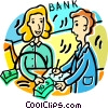 Vector Clipart illustration  of a person getting a loan at the