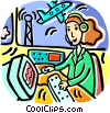 Air traffic controller monitoring airplanes Vector Clip Art image