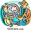 Vector Clip Art picture  of a serving refreshments to passenger