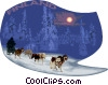 Dog sled team in Finland Vector Clipart illustration