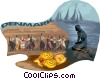 Vector Clip Art picture  of a People dancing and sailboats