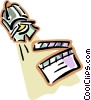Vector Clipart picture  of a spot lights and clapboards