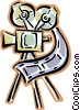Vector Clip Art graphic  of a movie cameras with film