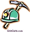 Vector Clipart graphic  of a miners helmet with a pick axe