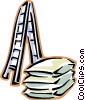Vector Clipart image  of a ladder with bags of cement