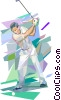 Vector Clip Art image  of a Man teeing off