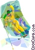 Downhill skier Vector Clipart illustration
