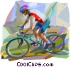 Vector Clipart illustration  of a Mountain bike racer