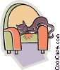 cat sleeping on chair Vector Clip Art image