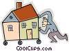 Vector Clipart graphic  of a Man moving his house on wheels