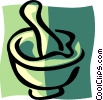 Vector Clip Art image  of a mortar and pestle