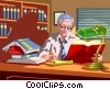 Vector Clipart graphic  of a lawyer studding law books