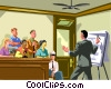 Vector Clip Art graphic  of a lawyer making a presentation
