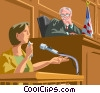 Vector Clipart illustration  of a woman giving testimony at a