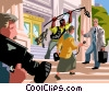 reporters interviewing a lawyer at the court house Vector Clipart illustration