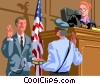 Vector Clip Art graphic  of a bailiff swearing in a witness