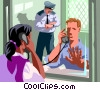 convict with a visitor in jail Vector Clip Art graphic
