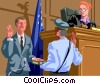 Vector Clipart picture  of a judge at trial