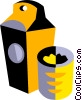 Vector Clip Art image  of a carton of milk with a glass