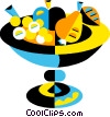 bowl of fruit Vector Clip Art image