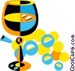 Vector Clipart illustration  of a wine glasses and grapes