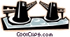 Vector Clip Art image  of a drawbridge