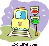 Vector Clipart illustration  of a subway train with traffic