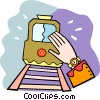 looking at the time waiting for the train Vector Clipart graphic