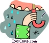 Vector Clip Art picture  of a caught in the rain