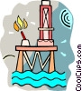Vector Clipart graphic  of a off shore oil well
