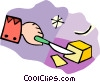 cutting butter with a knife Vector Clipart illustration