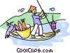 Japanese man paddling a fishing boat Vector Clipart image