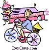 Vector Clipart picture  of an Asian person riding a bicycle