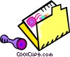 Vector Clip Art picture  of a file folder with rubber stamp