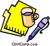file folder with coffee cup and pen Vector Clip Art graphic