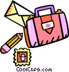 suitcase with letter Vector Clip Art image