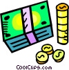 Vector Clip Art image  of a stacks of money