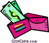 Vector Clipart illustration  of a wallet with cash overflowing