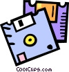 Vector Clip Art graphic  of a 3.5 inch diskettes