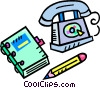 Vector Clip Art image  of a phone book with telephone and