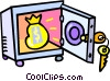 vault with a bag of money Vector Clip Art graphic