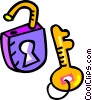 Vector Clipart graphic  of a padlock with keys