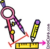 compass with ruler and pencil Vector Clipart illustration