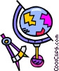 Vector Clipart illustration  of a compass and globe