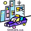 Vector Clip Art graphic  of a taxi in front of apartment