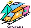 Vector Clip Art image  of a train traveling through