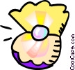Vector Clipart image  of a oyster with pearl
